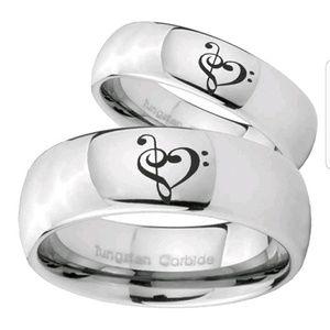 Tungsten Carbide Music & Heart Ring